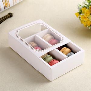 10 Macarons Bicchieri di carta da forno Box cassetto scatole di biscotti Packaging torta regalo Bakeware bigné spuntino Macaron 100PCS / LOT