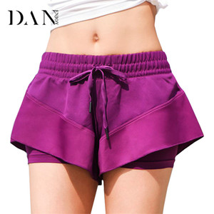 DANENJOY Breathable Women Yoga Sport Shorts Quick Dry Gym Jogging Fitness Compression Tights Workout Drawstring Double Layer
