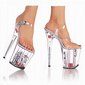 Clear Super High каблуках Sexy Свадебная обувь на толстой подошве T-Stage Lead танцевальная обувь Sexy Wild Night Club Большой размер Женская обувь