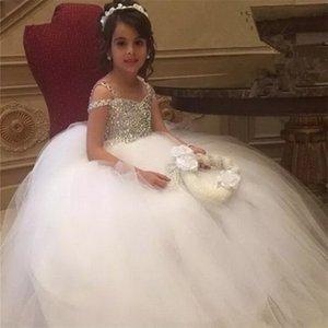 럭셔리 결혼식 푹신한 얇은 명주 그물 구슬 크리스탈 여자 영성체 드레스 미인 대회 드레스 높은 품질 꽃 소녀 드레스