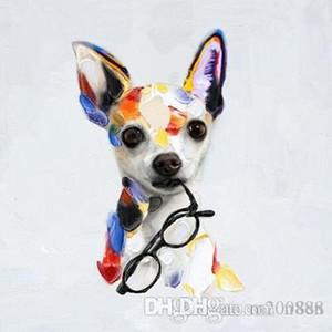 Большой расписанную Аннотация Puppy Картина маслом на холсте современного декора стены искусства картинки Handmade Симпатичные собаки животных A106 200310