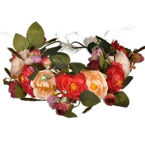 Fairy Women Handmade Rose Flower Wreath Crown Wedding Festivals Garland Crown Beautiful Fashion Flower Headband Pet Supplies