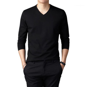 T-Shirts Long Sleeve Cotton Stand Collar Mens tshirts Solid Color Slim Men Designer Tops Plus Size V Neck Men