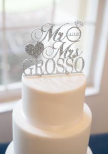 Wedding Cake Topper Personalizado Mr Mrs Personalizado en Glitter, Apellido personalizado Fecha Cake Topper Boda Aniversario Decoración