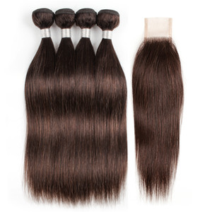 #2 Dark Brown Brazilian Straight Hair Weave Bundles With Closure 4 Bundles with 2x6 Lace Closure Remy Human Hair extensions Wholesale