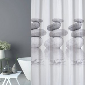 Pebble 3D Print Waterproof Bathroom Curtain Real Thicken Coating Process Shower Curtain High Quality Fabrics Shower Decoration CX200706