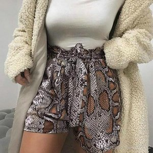 Sexy Snake Skin Print Shorts Pants 2019 High Waist Shorts Women Cinched Belt Lace Up Ruffles Mini Shorts 2019 Spring Bandage Casual Buttoms