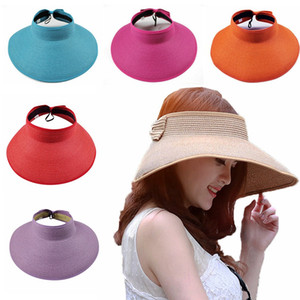 Boho Straw Hat Women Large Floppy Visor Hat Foldable Summer Beach Vacation Wide Brim Hats Bow Sunscreen Caps HHA1317