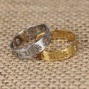 New Sechs Wort-Titanstahlring Trend Männer und Lucky Amulet Finger Frauen Ring Männer / Frauen-Schmucksache-heißen Verkauf