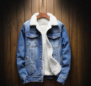 NEW Men Jacket and Coat Trendy Warm Fleece Thick Denim Jacket Winter Fashion Mens Jean Outwear Male Cowboy Plus