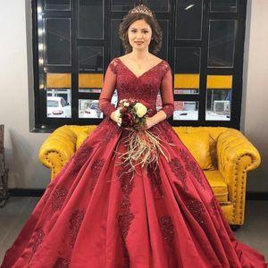 Elegant Burgundy Appliques Evening Dresses Ball Gown 3 4 Sleeves Bride Evening Event Ball Gowns Dress High Quality Wine Dark Red Women Dress