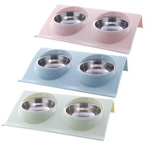 Plástico de acero inoxidable Doble Tazones Plato Teddy Dog Cat Food Basin Cachorro Mascotas Perros Gatos Suministros de alimentación Q190523