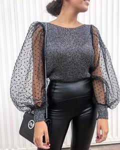 Les nouvelles femmes automne printemps T-shirt noir manches en organza points Puff Patchwork Tops T-shirts Lady causales C5104