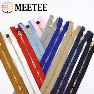 MeeTee 3 # cremallera del metal de 40-70cm de extremo abierto de la perla deslizantes Puller Decoración Ropa Zip DIY de coser Accesorios de ropa ZA044