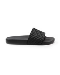Cruzeiro 2020 das mulheres dos homens unisex preto Matelasse borracha slide sandálias chinelos de praia plana footbed borracha moldada