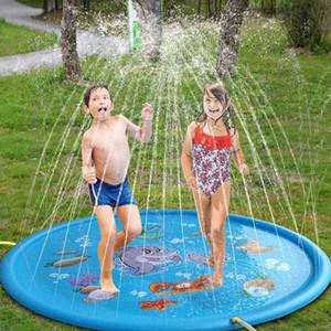 Piscine 100 centimetri Bambini rotondo gonfiabile Acqua Splash Giocare con piscina a giocare spruzzatore Mat Yard Outdoor Fun multicolore Materiale PVC
