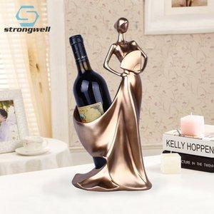 Creative Home decorativa Figuras Ornamentos minimalista moderno azul Tome Fan Beleza Wine Rack Decoração criativa Casamento Craft T200331