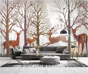 3d wallpaper custom photo murals Hand painted Nordic forest elk modern TV background wall painting stickers homedecor wall art pictures