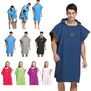 90 * 110 микрофибры пляжное полотенце Wetsuit Изменение Robe пончо с капюшоном Quick Dry капюшоном полотенца для купания Человек женщин Халат Полотенца