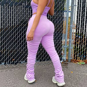 Ruched High Waist Women Stacked Pants Casual Solid Bodycon Fashion Long Trousers Workout Streetwear 2020 Summer Pants