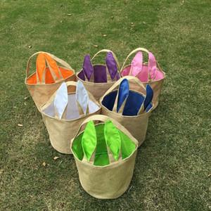 Orelhas de serapilheira Páscoa Bucket Bag juta Cesta Com Coelho Armazenamento Bolsas DIY bonito orelhas de coelho presentes de Easter Bolsa Coloque Easter Eggs Bag
