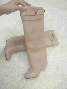 Plata Metal Shark bloqueo para mujer Over The botines rodilla Diseñador puntiagudo para r mujer acuña los altos talones Botas