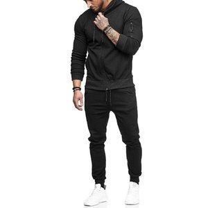 New Treino Homens Moda de Slim Preto Sports terno de algodão Casual Zipper Casaco + Pants 2 Pieces aptidão Jogger Define desconto no preço