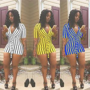 Summer Women Clothes Striped Print Straps Jumpsuit Tshirt Tops Deep V-neck Short Sleeve Streetwear Romper Trousers Clubwear C41604