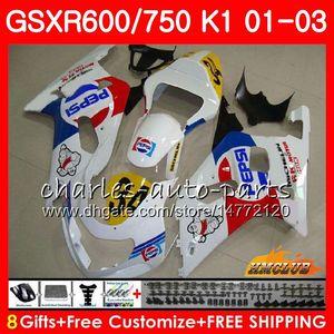 8Gifts Lager weißglühend Körper für SUZUKI GSXR750 GSXR 600 750 GSXR600 01 02 03 4HC.46 GSXR600 K1 GSX R750 GSXR750 2001 2002 2003 Verkleidungs-Kit