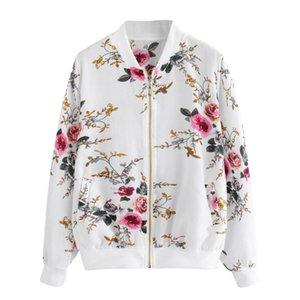 Slim Cool Lady Jackets Womens Ladies Biker Celeb Camo Flower FLoral Print Zipper Up Bomber Jacket 2020 New Women's Basic Jacket
