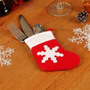 Decoração bonita do Natal do floco de neve padrão Xmas Sock Louça Talheres Decorações da tabela sacos de jantar Fork bolso Saco dos doces
