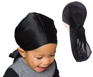 Neue Seidige Durag Für Kinder Reine farbe Kinder Mädchen Jungen Extra Long Tail Headwraps Piratenkappe 360 Wellen Satin Du-RAG Durags Hip Hop Hut 2-8Y