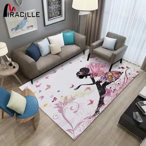 Miracille Fairy Muster Modern Teppich für Mädchen Schlafzimmer Dekoration Anti-Rutsch-Play-Bodenmatte