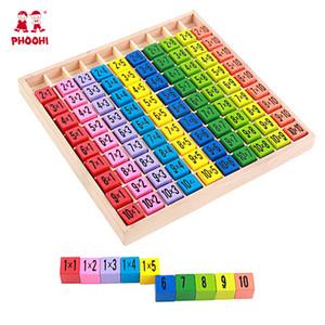Bambino Giocattoli di legno 99 Moltiplicazione del giocattolo della Tabella Math 10 * 10 Figura Blocchi bambino imparare educativo Montessori Regali