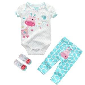 2019 Newest Fashion Style 3Pcs Lot Unisex Bodysuit Solid Cotton O-Neck Short Sleeve Clothing Set Baby Girls Boys Clothes Bebe