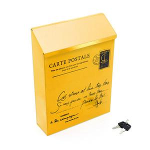 Cores Mailbox Retro Bloqueio Outdoor American Vintage correio caixa postal Exterior Início Letter Box Jardim Decoração de metal Postbox