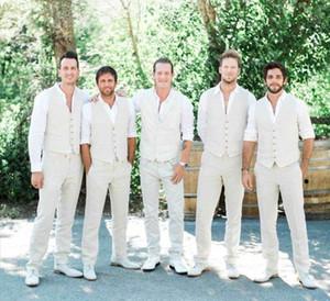 Linen Ivory Men Suits Beach Wedding Groom Tuxedo Slim Fit Handsome Best Man Blazers 2Pieces Pants Vest Groomsmen Prom Blazer