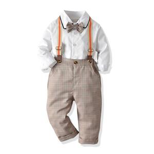 2019 Autumn Baby Gentleman Boys Clothes Set Kids Bowtie Long Sleeve Shirt + Suspender Plaid Pants Boy 2pcs Outfits Chidren Set 15166