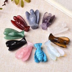 1pc naturel cristal Ange Gardien Figurine Améthyste Rose Quartz coloré guérison pierre Gem Craft cadeau Accueil Ornements Décor