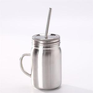 Tazze Mason Jar in acciaio inossidabile Tazze portatili da esterno a parete singola con paglia e coperchio 700ml 16gy F1