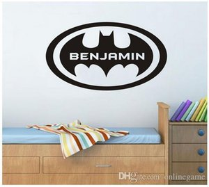 Personalized Customize Name Batman FLy Circle Animation wall decal quote sticker for kids room decor 51*28 cm