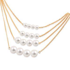Europäische und amerikanische Halskette einfach Art und Weise kreative Mehrschichtige künstliche Perlenkette Temperament Schmuck