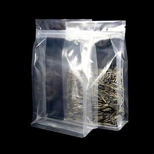 Oito lados selando alta zip lock stand pacote sacos de plástico transparente poli zíper embalagem saco de armazenamento de alimentos saco translúcido café