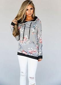 Long Fashion Automne Femmes manches Sweat à capuche chaud Casual Jumper imprimé floral Pull à capuche Hauts