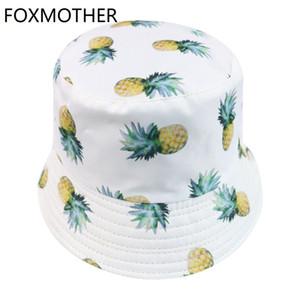 FOXMOTHER Nouvelles Femmes Blanc Ananas Fruits Seau Chapeau Femme 2019 Corée de mode