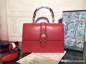2019GU 421999 Dionysuss Bamboo Top Handle Red Leather 2 Way Bag Size:27*22*10CM