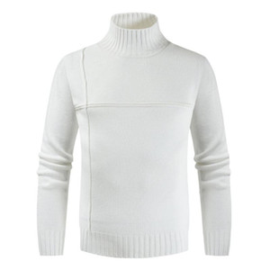 Spring Fall Male Casual Slim Knit Sweater Striped Stitching Korean Turtleneck Solid Color Men's Sweater Long Sleeve Men Tops