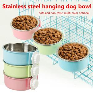 Hang-On gato Comederos de acero inoxidable diseñador, Alimentación Alimentador cajón jaula Alimentación Alimentación Distribuidores agua de la taza plato de comida para perro gato conejo