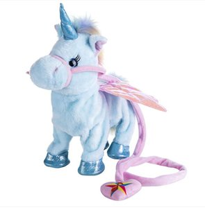 5 colors Electric unicorn can walk and sing cartoon toy doll Leash doll walk and sing electric plush toy children gifts