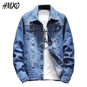 Ropa HMXO 2020 nuevos hombres de la moda raída chaqueta denim diseño estilo retro de los pantalones vaqueros de la chaqueta del desgaste de la calle de los hombres ocasionales de gran tamaño 5XL